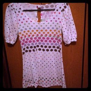 Tops - White Polka Dot Short Sleeve Shirt